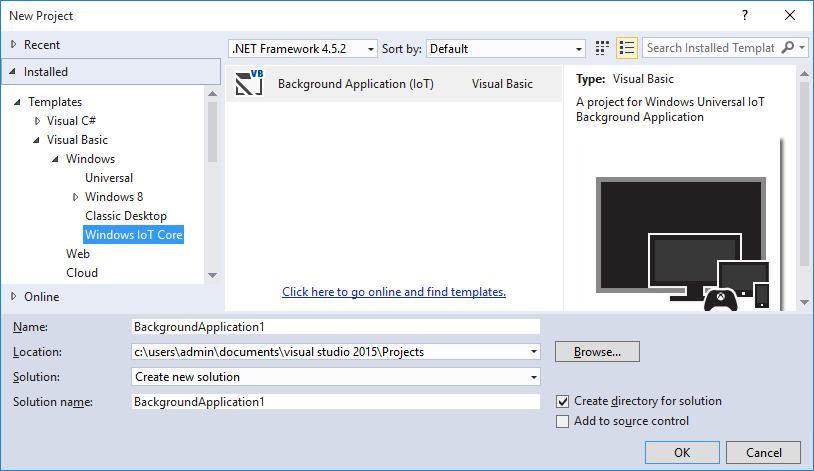 windows iot core project templates visual studio marketplace