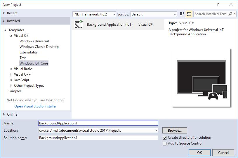 Windows Iot Core Project Templates For Vs 2017 Visual Studio